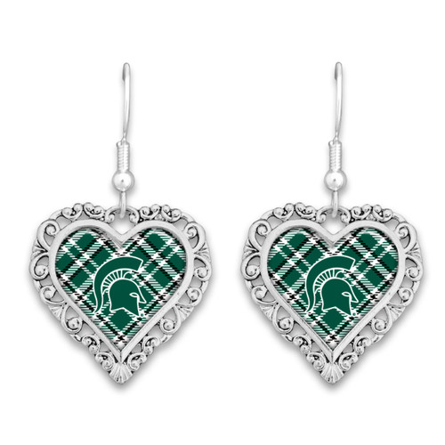Michigan State Spartans Earrings- Plaid