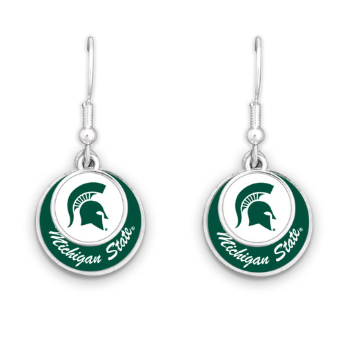 Michigan State Spartans Stamped Disk Earrings