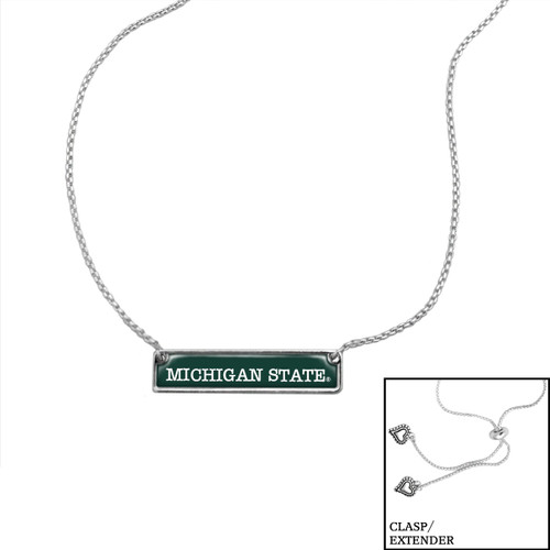 Michigan State Spartans Slider Bead Adjustable Necklace- Nameplate