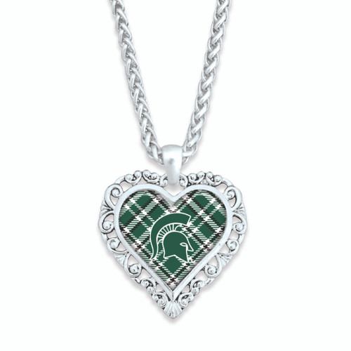 Michigan State Spartans Necklace- Plaid