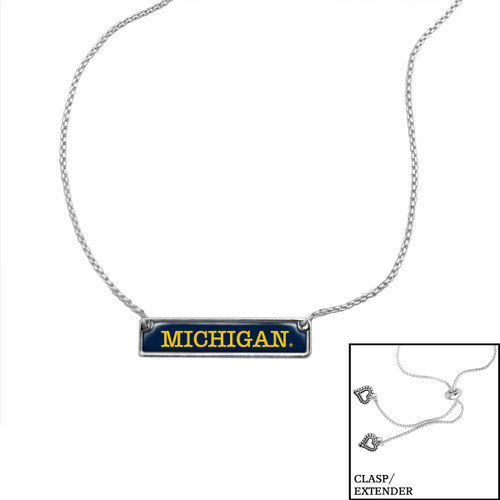 Michigan Wolverines Slider Bead Adjustable Necklace- Nameplate