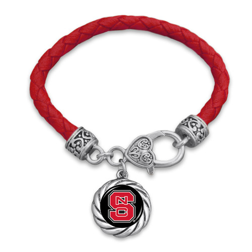 NC State Wolfpack Bracelet- Harvey Leather Twisted Rope