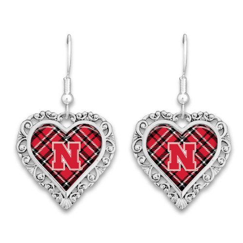 Nebraska Cornhuskers Earrings- Plaid