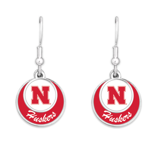 Nebraska Cornhuskers Earrings- Stacked Disk