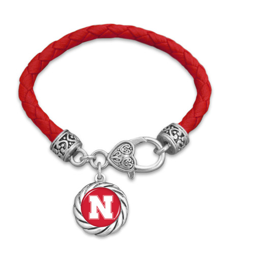 Nebraska Cornhuskers Bracelet- Harvey Leather Twisted Rope