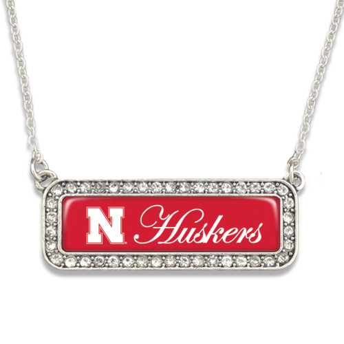 Nebraska Cornhuskers Necklace- Silver Crystal Nameplate