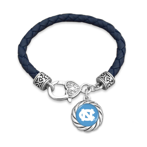 North Carolina Tar Heels Bracelet- Harvey Leather Twisted Rope