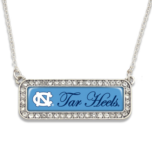 North Carolina Tar Heels Necklace- Silver Crystal Nameplate