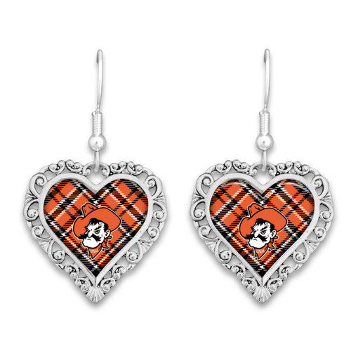 Oklahoma State Cowboys Earrings- Plaid