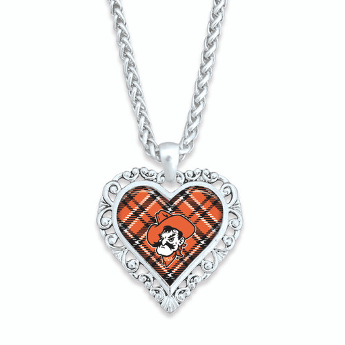 Oklahoma State Cowboys Necklace- Plaid
