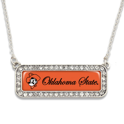 Oklahoma State Cowboys Necklace- Silver Crystal Nameplate