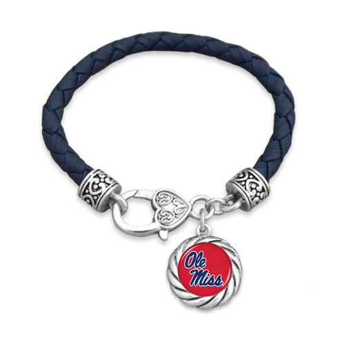 Ole Miss Rebels Bracelet- Harvey Leather Twisted Rope