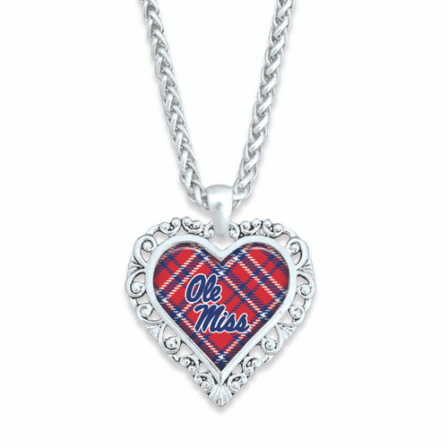 Ole Miss Rebels Necklace- Plaid