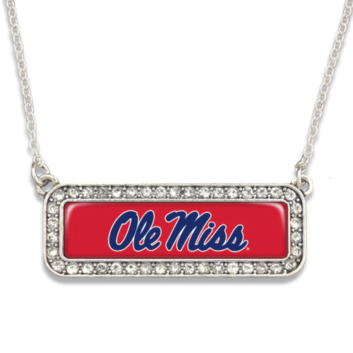 Ole Miss Rebels Necklace- Silver Crystal Nameplate