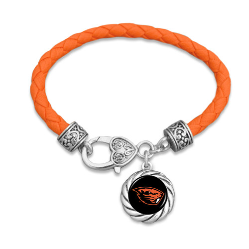 Oregon State Beavers Bracelet- Harvey Leather Twisted Rope
