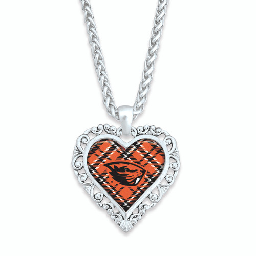 Oregon State Beavers Necklace- Plaid