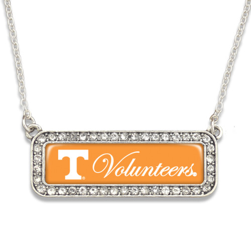Tennessee Volunteers Necklace- Silver Crystal Nameplate