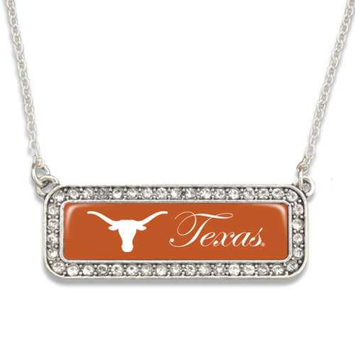 Texas Longhorns Necklace- Silver Crystal Nameplate