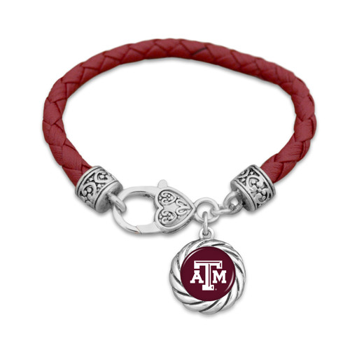 Texas A&M Aggies Bracelet- Harvey Leather Twisted Rope