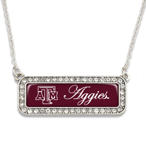 Texas A&M Aggies Necklace- Silver Crystal Nameplate