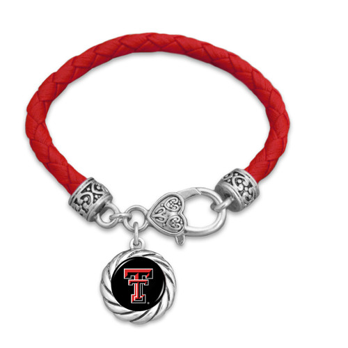Texas Tech Raiders Bracelet- Harvey Leather Twisted Rope
