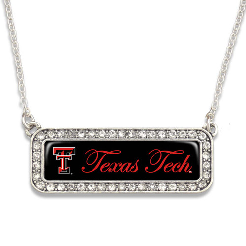 Texas Tech Raiders Necklace- Silver Crystal Nameplate