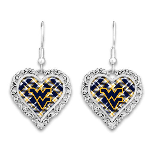 West Virginia Mountaineers Earrings- Plaid