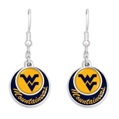 West Virginia Mountaineers Earrings- Stacked Disk