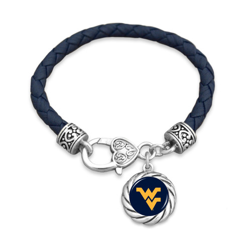 West Virginia Mountaineers Bracelet- Harvey Leather Twisted Rope