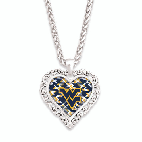 West Virginia Mountaineers Necklace- Plaid