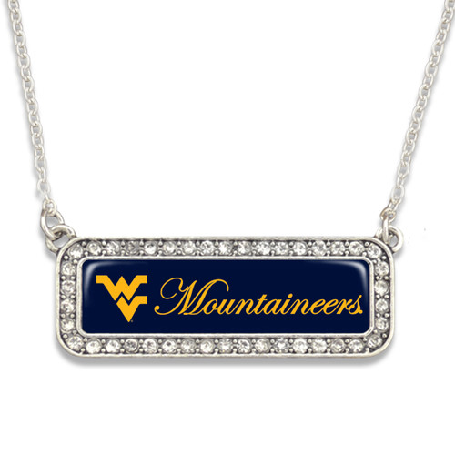 West Virginia Mountaineers Necklace- Silver Crystal Nameplate