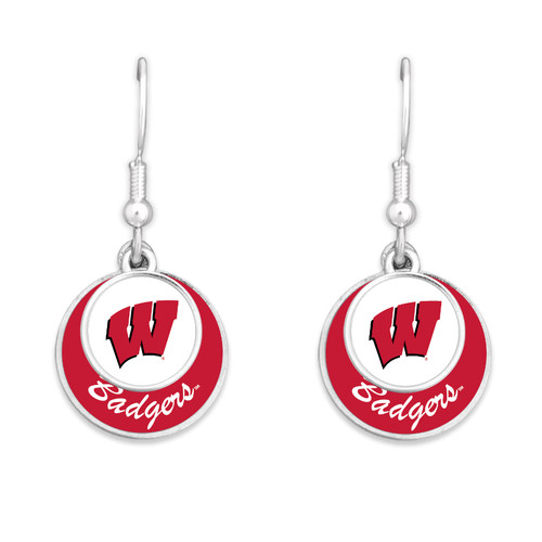 Wisconsin Badgers Earrings- Stacked Disk