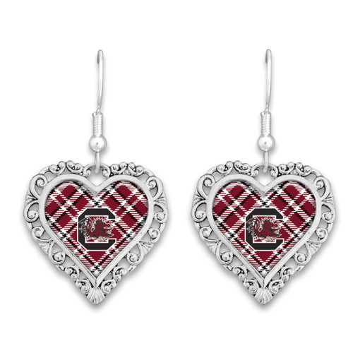 South Carolina Gamecocks Earrings- Plaid