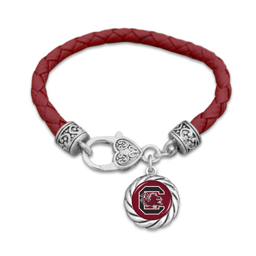 South Carolina Gamecocks Bracelet- Harvey Leather Twisted Rope