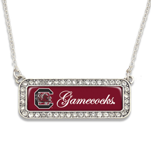 South Carolina Gamecocks Necklace- Silver Crystal Nameplate