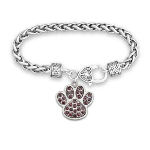 Team Spirit Jewelry- Crystal Paw Print Burgundy- Bracelet