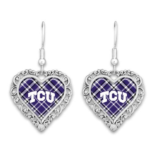 TCU Horned Frogs Earrings- Plaid