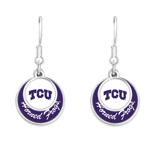 TCU Horned Frogs Earrings- Stacked Disk