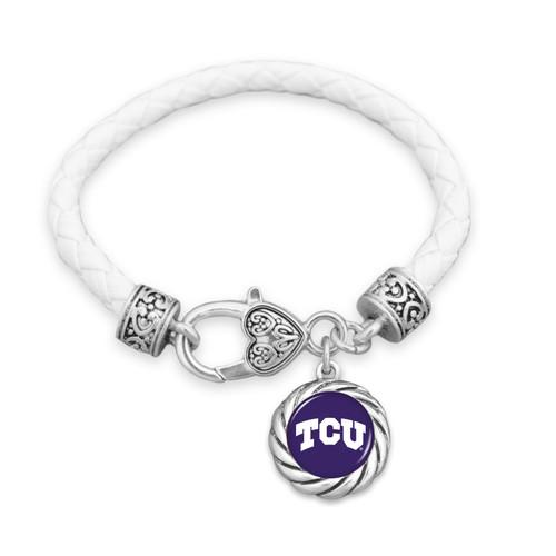 TCU Horned Frogs Bracelet- Harvey Leather Twisted Rope