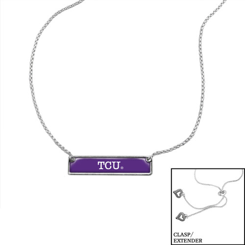 TCU Horned Frogs Slider Bead Adjustable Necklace- Nameplate