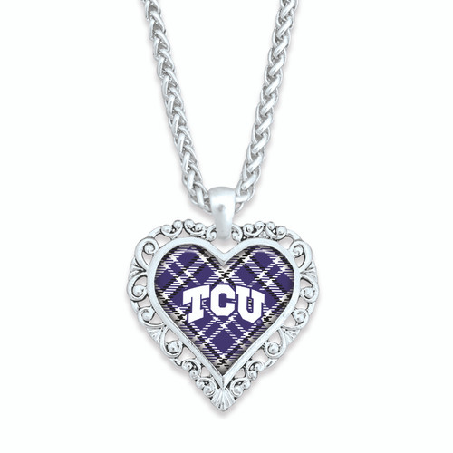 TCU Horned Frogs Necklace- Plaid