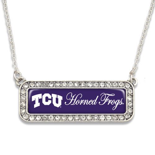 TCU Horned Frogs Necklace- Silver Crystal Nameplate