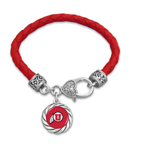 Utah Utes Bracelet- Harvey Leather Twisted Rope