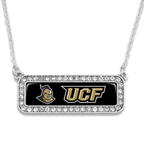 Central Florida Knights Necklace- Silver Crystal Nameplate