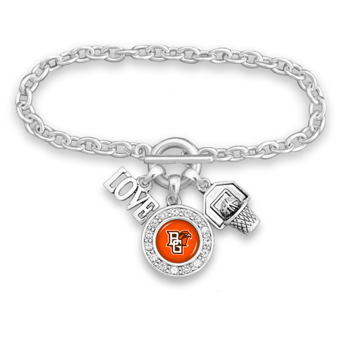 Bowling Green State Falcons Basketball, Love and Logo Bracelet