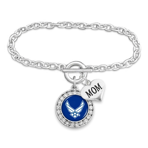 Military Bracelet - Air Force - Round Crystal with Mom Accent Charm