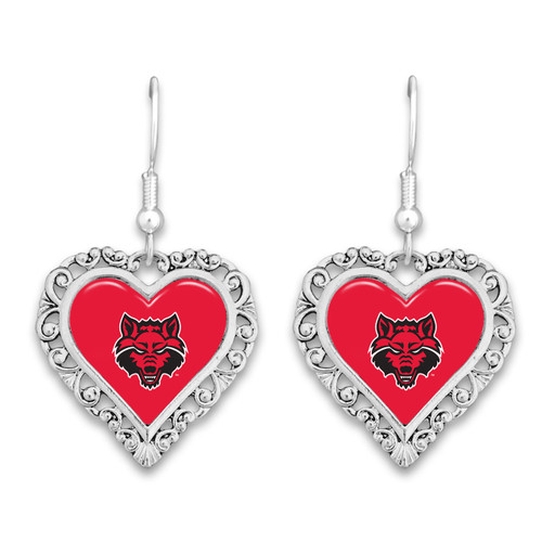 Arkansas State Red Wolves Lace Trim Earrings