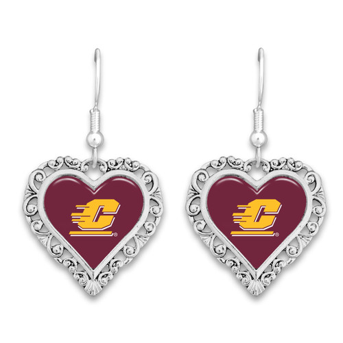 Central Michigan Chippewas Lace Trim Earrings