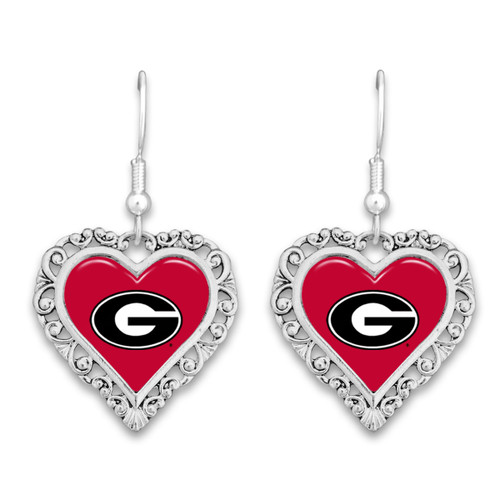 Georgia Bulldogs Lace Trim Earrings