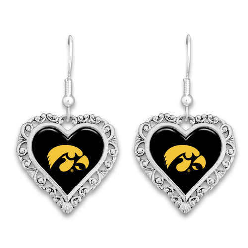 Iowa Hawkeyes Lace Trim Earrings